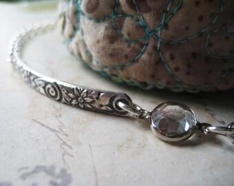 Pattern Bar Bracelet, Sterling Silver, Oxidized Pattern, Pattern Bar, Flower Detailing, Sterling Crystal, Layering Bracelet, candies64