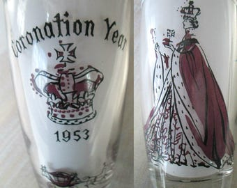 Queen Elizabeth Coronation Glass Tumbler Mid Century Collectible