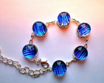 Glass fusing blue dichroic glass bracelet