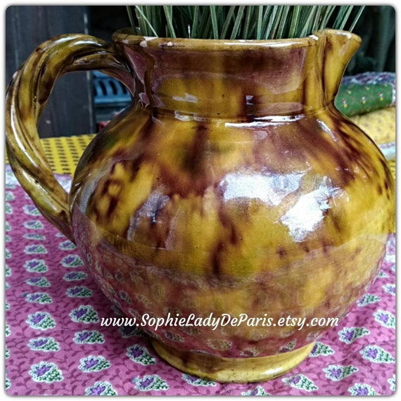 1930's Ochre Pitcher French Provence Varnished Pottery signed Robert Gery #sophieladydeparis