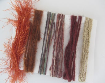 Rust and gold yarn scraps