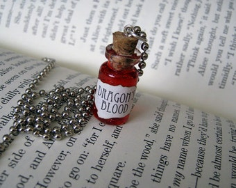 Dragon's Blood 1ml Glass Bottle Necklace Charm - Cork Vial Pendant - Dragons Goth Halloween