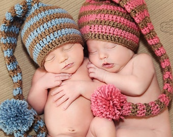 Boy Girl Twin Stocking Hats - Newborn Twin Hats