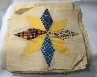 "LOT of 9 Hand Sewn Star Quilt Blocks Yellow Muslin Vintage Fabric  11"" x 11"""