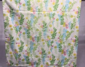 Vintage pink and yellow floral pillowcase, flowers, blue and green ferns, Cannon, standard, floral pillowcase, bedding, linens, retro pink