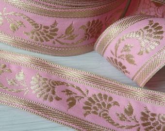 Pink & Gold floral sari border - TWO yards of 40mm sari trim, sari ribbon, pink and gold ribbon for clothing, accessories, home decor, 2 yds