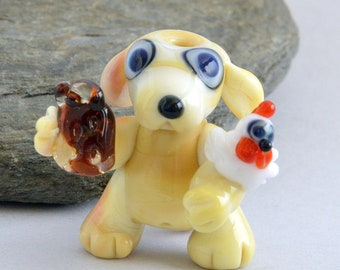 DOG with Beer and Bird,   Glass Sculpture Collectible, Focal Bead, Pendant, Izzybeads SRA