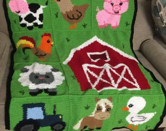 INSTANT DOWNLOAD - Farm Animals - Barnyard Animals - Crochet Graph - Crochet Pattern - Baby Blanket - Afghan - Graphgan
