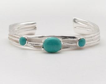 Turquoise Cuff Bracelet, Sterling Silver Sculptured Cuff and Natural Blue Turquoise, Turquoise Jewelry Wearable Art Jewelry Bracelet for Her