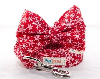 CLEARANCE!!Snowflake Dog Leash//Snowflake Dog Bow Tie//Snowflake Designer Dog Lead//Christmas Dog Leash//Christmas Dog Bowtie//Bow Tie Dog