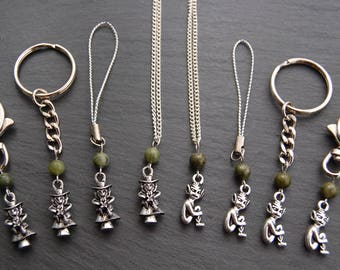Lucky Pixie or Leprechaun Necklace, Keyring, Bag Clip or Charm. Elf Fairy Faerie Cornish Cornwall Ireland Connemara Marble Serpentine Celtic