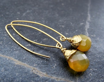Chalcedony earrings Yellow chalcedony Earrings hoop earrings gemstone earrings summer jewelry  gift women  gift for her Mother's Day gift