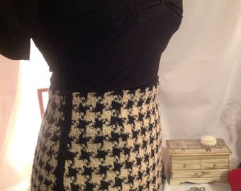 Vintage 1985-90 / Alfred SUNG spindle woolen design/skirt / adjusted houndstooth/lining/size 6