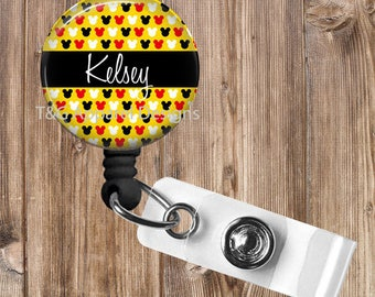 Personalized Mickey Mouse No Twist Retractable Badge Reel Badge Holder Great Gift for Teacher,Nurse,Office