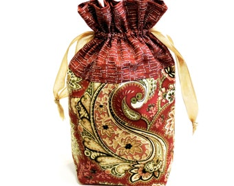 Drawstring Fabric Gift Bag, Rust Green Paisley Cloth Travel Storage Hosiery Jewelry Pouch, Reusable Gift Wrap, Ditty Bags itsyourcountry