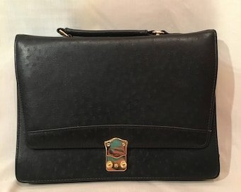 Vintage Black Faux Ostrich Purse