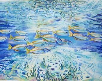Banco dei pesci, pesci ad acquerello, dipinto originale / Shoal of fish, watercolor fishes , original painting