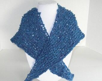 Blue Knit Shawl / Triangle Textured Cotton Shawlette
