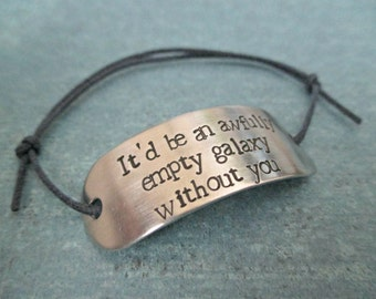 it'd be an awfully empty galaxy without you - hand stamped mass effect garrus inspired aluminum adjustable cord bracelet
