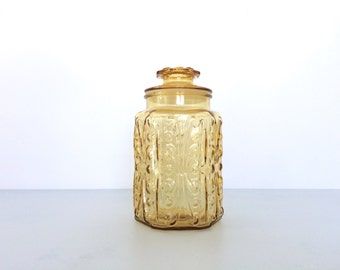 Vintage Amber Imperial Glass Atterbury Scroll Canister