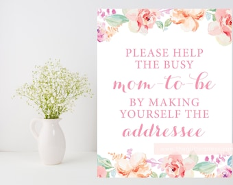 Please help the mom-to-be, make yourself the addressee sign, Floral baby shower, blush baby shower, DIY, Instant Download, 003