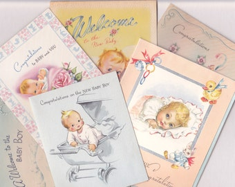 BABY GREETING CARDS, Lot of 20, Used, Sweet Faces and Animals, 1940's,  Vintage Upcycling, Repurposing Paper