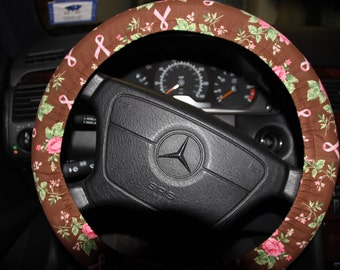 Brown With Pink Flowers Steering Wheel Cover Womens