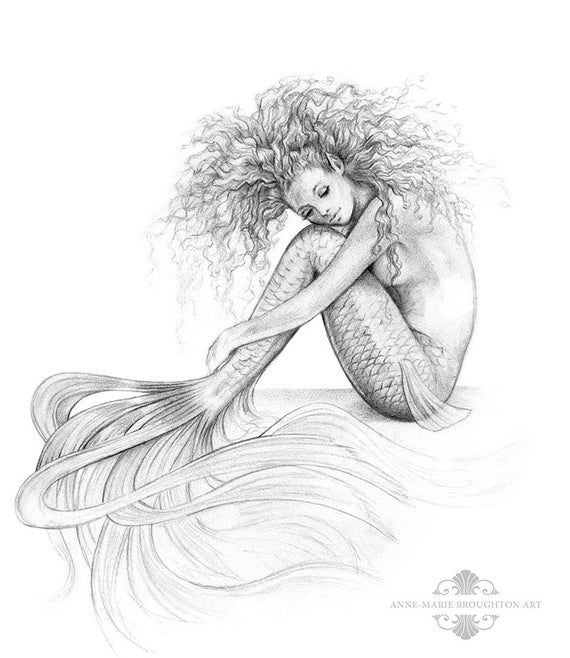 8x10 Inch Print Tranquil Mermaid Art Graphite Pencil Drawing