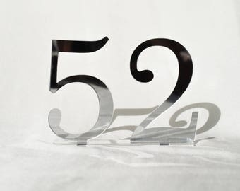 """5"""" Mirror acrylic Table Numbers, Wedding Table Numbers, Wedding Table Numbers Set, Wedding Table Decor, Table Numbers,"""