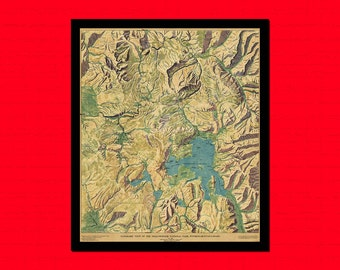 Old Map Of Panoramic view Of The Yellowstone Old Map Art Reproduction Home Design Vintage Retro Map Reproduction Vintage Map Reproduction