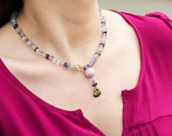 Fluorite and Heart Necklace.
