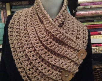 Taupe Cowl Beige Chunky Convertible Neck Warmer 3 Buttons