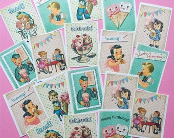 Ice Cream Stickers - Set of 18 - Handmade Stickers, Vintage Style, Vintage Ice Cream, Cute Planner Stickers, Cute Stickers, Birthday Party