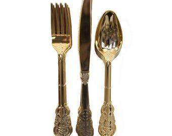 Metallic Gold Cutlery 18 Piece Set, Birthday Party Cutlery, Wedding Cutlery, Hen Party Cutlery, BBQ Cutlery, Garden Party Cutlery