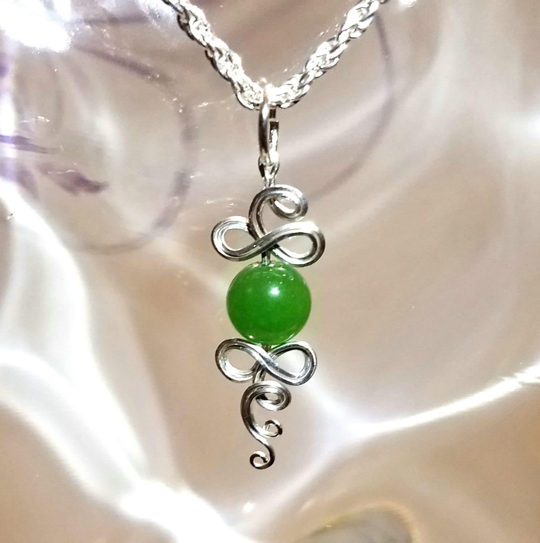 Green Jade Pendant. Celtic Knot Pendant. Green Jade Necklace.