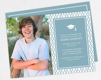 Graduation Invitation, Photo Graduation Invitation, Graduation Announcement, Printable, PDF, DIY, Printed Invites, Modern, Boy, Shawn, Blue