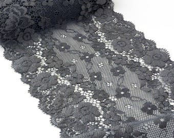 Lace couture lingerie dark grey flowing 13cm x 1 meter
