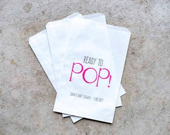 Baby Shower Favor Bags - Ready to Pop Favor Bags, Popcorn Bags