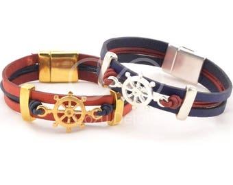ship wheel bracelet, gold bracelet, gold jewelry, nautical bracelet women, boat wheel, red blue bracelet, marine wife sailing bracelet