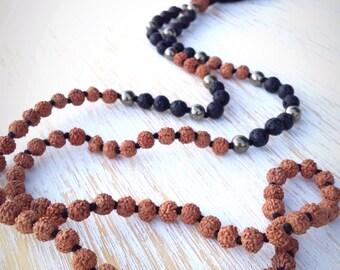 Black Lava Stone Pyrite Rudraksha Mala, Mala Necklace, Mala Beads 108, Mala Bead Necklace, 108 Mala Necklace, Mala Beads, Buddhist Jewelry