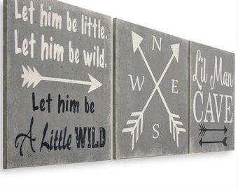 Boy's Nursery Decor, Lil Man Cave, Explore, Be Wild, Arrow Art, Above Crib Art, Wanderlust, Rustic, Baby Shower, New Baby Gift, Wooden Sign