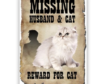 Persian Cat Husband Missing Reward Fridge Magnet No 1
