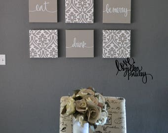 Beige Wall Decor Eat Drink Be Merry Art Set Canvas Hanging Gray Chic Dining