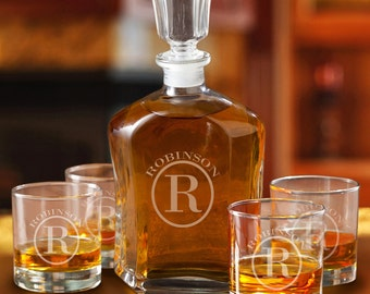 Monogrammed Whiskey Decanter and 4 Low Ball Glass Set - Engraved Decanter and Low ball Glass Set - Gifts for Him - Groomsmen Gifts - GC1496