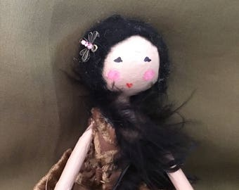 Ooak art doll in velvet dress