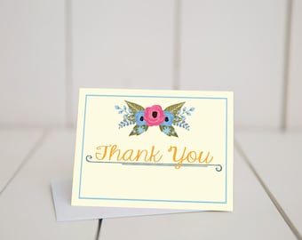 Floral Thank You- 5.5x4 folded note card
