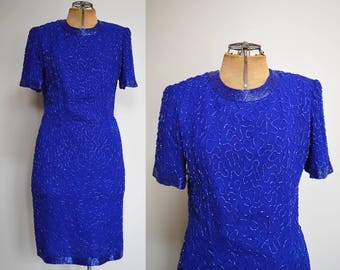 Vintage Stinay Silk Beaded Dress | 80s Fashion | Handmade