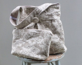 Grey Damask Hobo Bag with 3 Pocket Key Fob and Zipper Pouch Set - Bag  Reversible to Solid Grey Linen