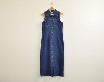 Long Denim Dress, Minimal Denim Maxi Dress, 90s Minimal Dress, 90s Casual Sleeveless Dress, Vintage Denim Dress, Simple Full Length Dress