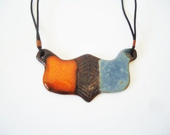Handamde ceramic necklace. Mother's day gift. Orange brown blue necklace, pottery necklace, ceramic jewelry, gift for Mom, gift for her